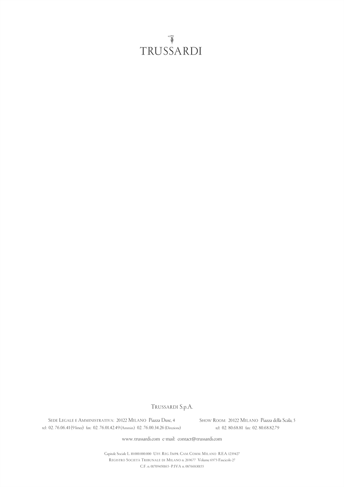 Trussardi Letter · Version Complete
