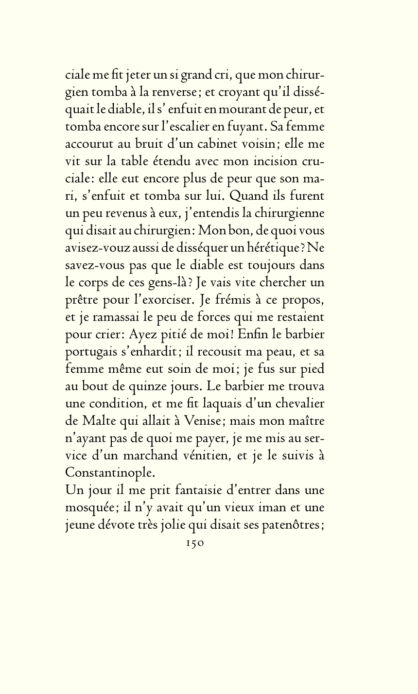 Centaur VAL (Valdonega Aesthetic Line) 14–16pt Size · Hot Metal Page Facsimile [p.150, Candide ou l'optimisme, Officina Bodoni, 1944]