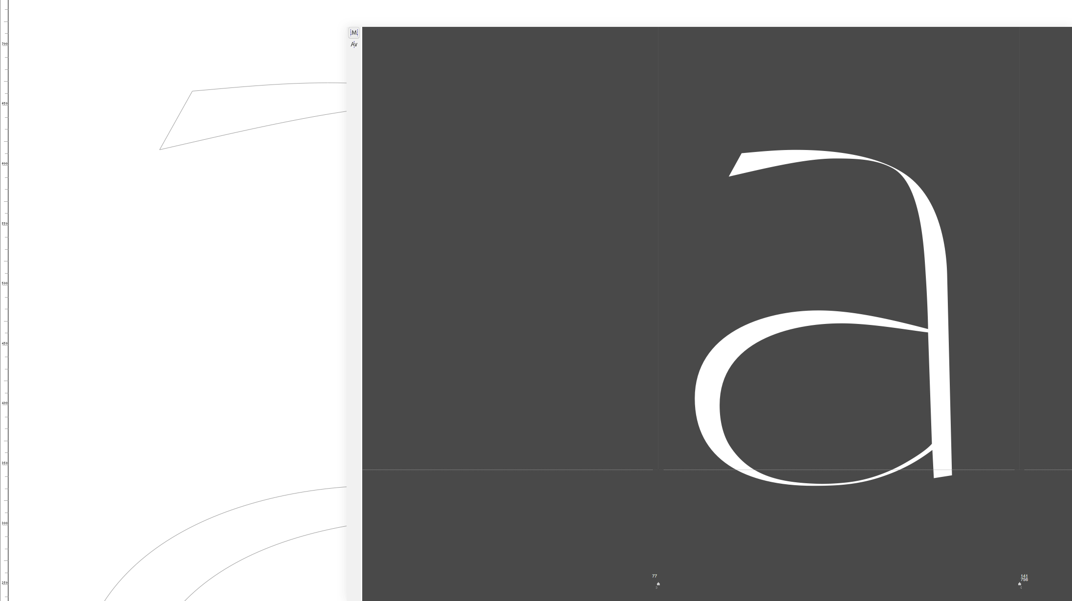 '<em>a</em>' Work Process · <em>Reflection</em> Typeface