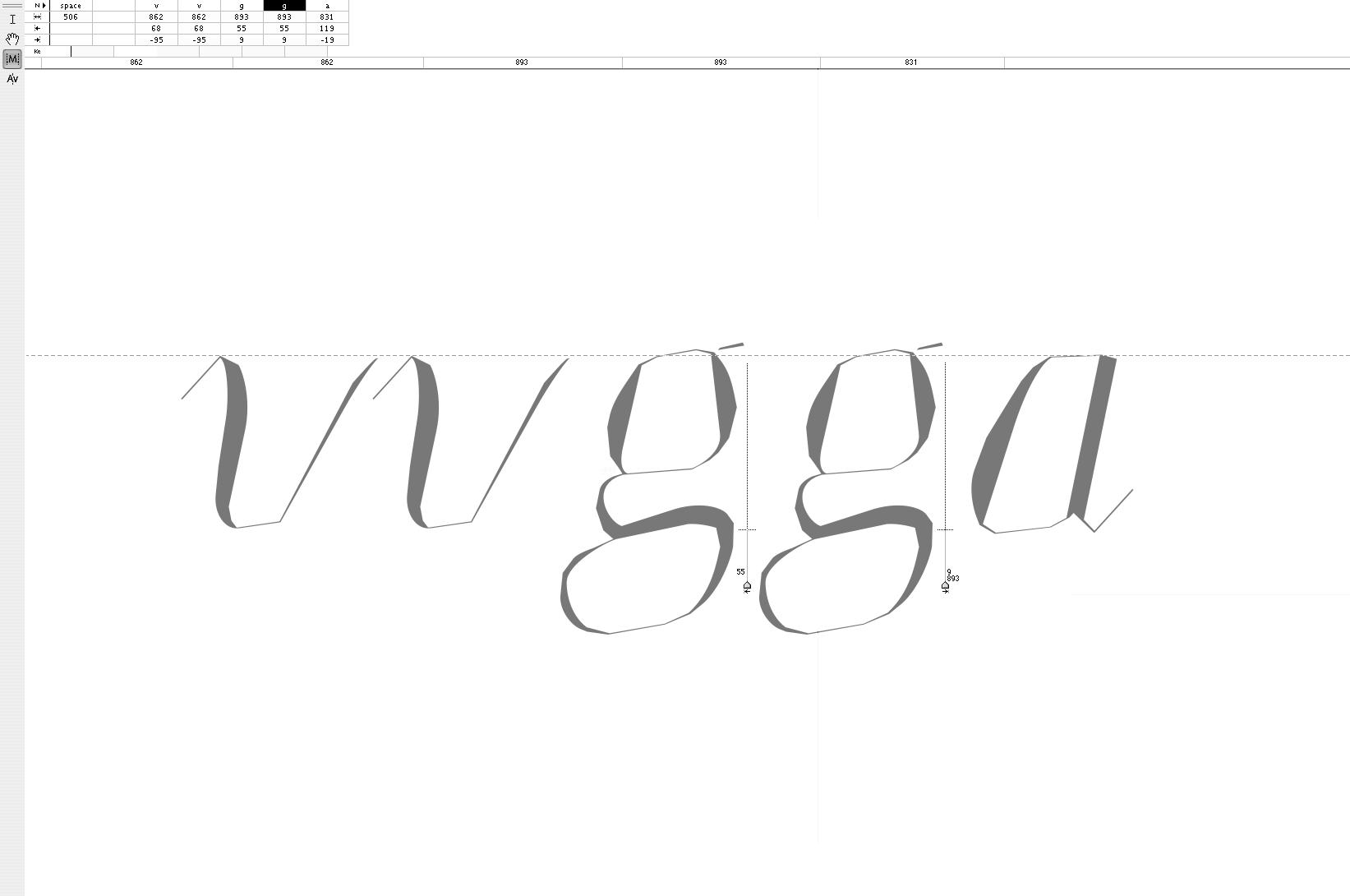 '<em>vvgga</em>' · Pairing <em>Memoir Italic</em> Letters
