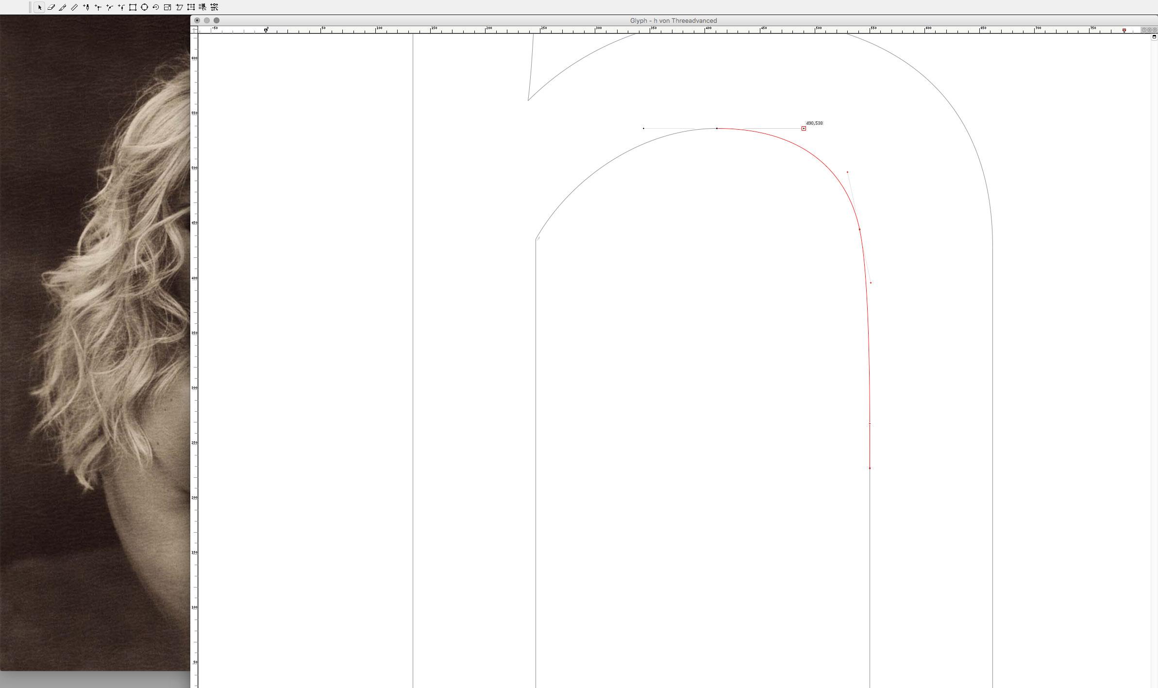 <em>Threeadvanced</em> '<em>h</em>' · Bézier Curves Detail