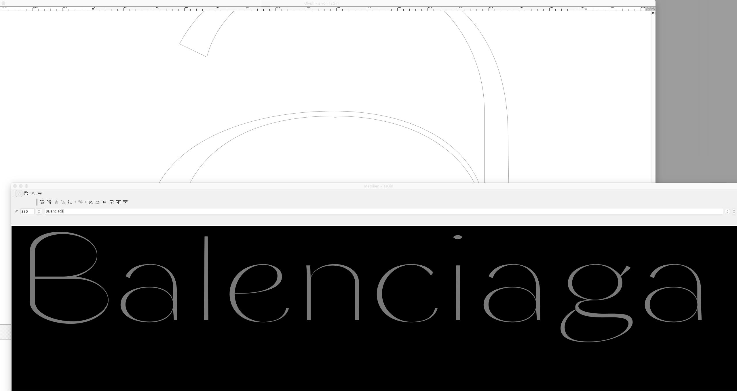 <em>Girl Editor</em> '<em>a</em>' Detail · '<em>Balenciaga</em>' <em>Metrics</em> Window